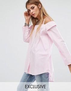 Рубашка бойфренда с открытыми плечами Reclamed Vintage - Розовый
