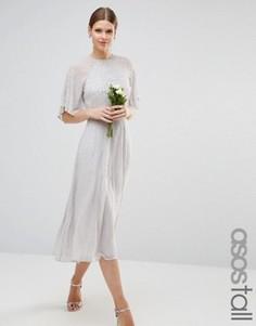 Платье миди с рукавами-бабочка и отделкой ASOS TALL WEDDING - Серый