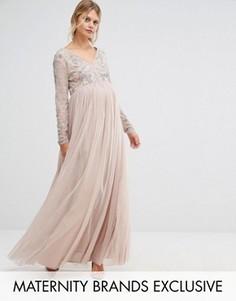 Платье макси с отделкой на лифе и тюлевой юбкой Maya Maternity - Коричневый