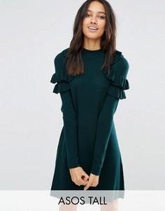Платье-джемпер с рюшами на плечах ASOS TALL - Зеленый