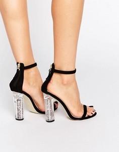 Босоножки на каблуке из блестящего пластика Boohoo - Черный