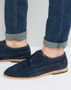 Кожаные дерби с плетением Hudson London Anfa - Темно-синий