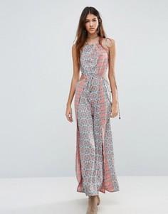 Платье макси с принтом и боковыми разрезами Raga Serena - Розовый