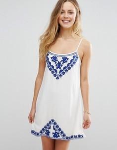 Платье мини на тонких бретельках с вышивкой Raga Santorini - Белый