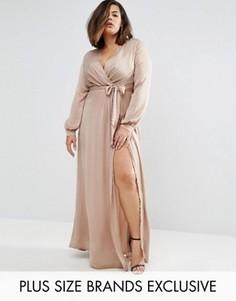 Платье макси с запахом Missguided Plus - Коричневый