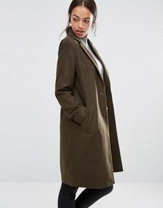 Строгое пальто-бушлат New Look - Зеленый