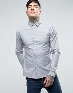 Темно-синяя оксфордская рубашка скинни с логотипом ASOS - Темно-синий