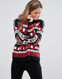 Джемпер с рождественском стиле New Look - Черный