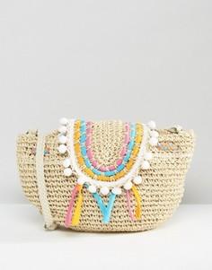Соломенная сумка с отделкой помпонами South Beach - Мульти