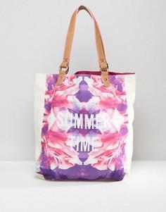 Пляжная сумка с цветочным и неоновым принтом South Beach - Мульти