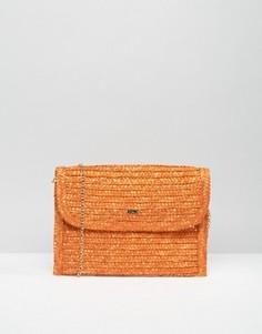 Соломенный клатч-конверт Nali - Оранжевый