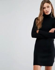 Платье мини в рубчик с отворачивающимся воротником New Look - Черный