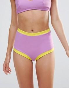 Плавки-бикини с завышенной талией и контрастной отделкой по краям Lolli - Фиолетовый