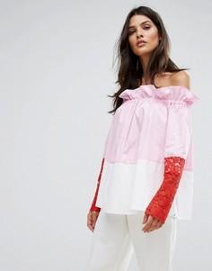 Топ с открытыми плечами Sportmax Code Samaria - Розовый