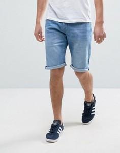 Светло-синие выбеленные джинсовые шорты с отворотами Esprit - Синий