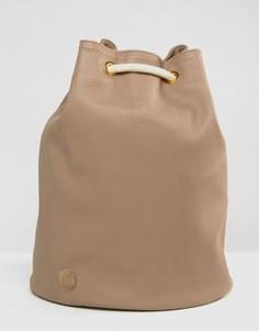 Рюкзак из искусственной кожи с затягивающимся шнурком Mi-Pac - Бежевый