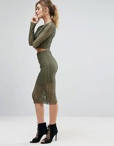 Фактурная юбка Missguided - Зеленый