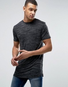 Длинная фактурная футболка D-Struct - Черный