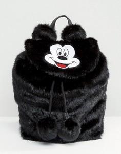 Рюкзак из искусственного меха с Микки Маусом Disney x Lazy Oaf - Черный