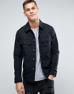 Рубашка навыпуск с карманами в стиле милитари Jack & Jones Vintage - Черный