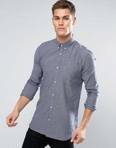 Фактурная удлиненная рубашка с длинными рукавами D-Struct - Синий