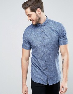 Темно-синяя приталенная рубашка с короткими рукавами и цветочным принтом BOSS Orange by Hugo Boss - Темно-синий