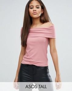 Топ в рубчик с открытыми плечами ASOS TALL - Розовый