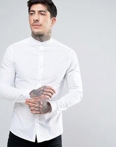 Приталенная рубашка с кружевной отделкой и воротником на пуговице ASOS - Белый