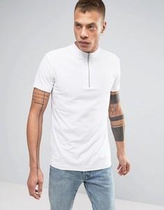 Белая футболка из пике с высоким воротом на молнии Lindbergh - Белый