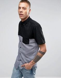 Рубашка с короткими рукавами и вставками Lindbergh - Черный