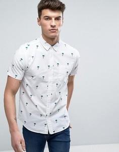 Рубашка с короткими рукавами и пальмами Brave Soul - Белый
