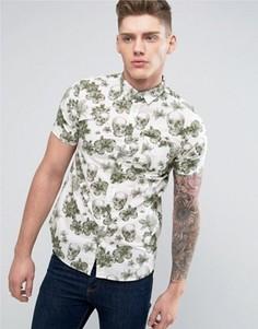 Рубашка с короткими рукавами и цветочным принтом с черепами Brave Soul - Зеленый