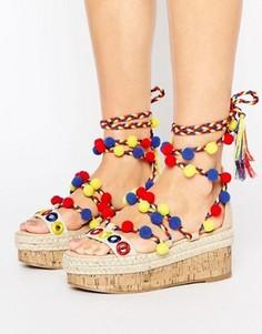 Туфли на плоской платформе с помпонами ASOS TIJUANA - Мульти