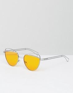 Солнцезащитные очки кошачий глаз с оранжевыми стеклами ASOS - Золотой