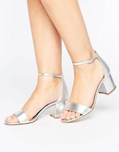 Кожаные сандалии с блочным каблуком ALDO Villarosa - Серебряный