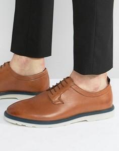 Светло-коричневые кожаные туфли дерби на контрастной подошве ASOS - Рыжий