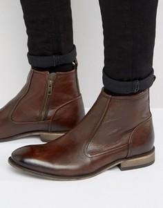 Коричневые кожаные ботинки челси с молнией ASOS - Коричневый