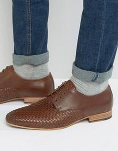 Коричневые кожаные дерби с плетением ASOS - Коричневый