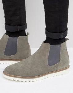 Серые замшевые ботинки челси на белой подошве ASOS - Серый