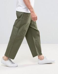 Широкие укороченные джинсы зеленого цвета в стиле милитари Dr Denim Melvin - Зеленый