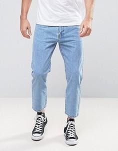 Прямые укороченные светлые джинсы из органического денима Dr Denim Otis - Синий