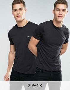 2 черных футболки классического кроя Armani Jeans - Черный