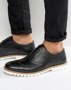 Черные кожаные броги на белой подошве ASOS - Черный