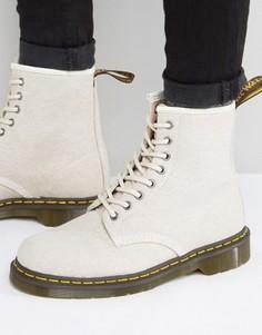 Выбеленные парусиновые ботинки с 8 парами люверсов Dr Martens 1460 - Бежевый