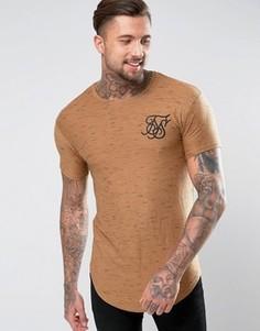 Бежевая футболка с асимметричным краем SikSilk - Stone