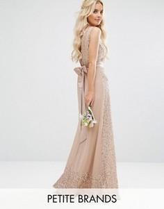 Платье макси с отделкой и бантом Maya Petite - Розовый