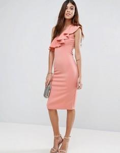 Платье миди на одно плечо с оборками Rare - Розовый