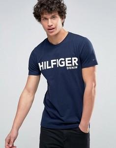 Темно-синяя футболка с большим логотипом Hilfiger Denim - Темно-синий