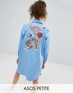 Полосатое платье-рубашка с вышивкой ASOS PETITE - Синий