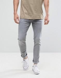 Серые выбеленные джинсы слим Only & Sons - Серый
